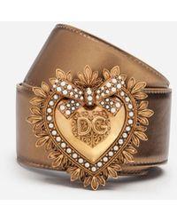 Dolce & Gabbana Devotion Belt In Laminated Calfskin - Metallic