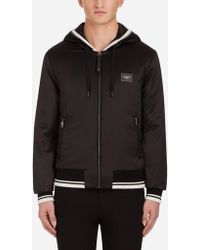 Dolce & Gabbana - Satin Jacket With Hood And Branded Plate - Lyst