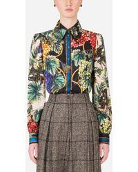 Dolce & Gabbana Grape Print Shirt In Twill - Multicolore