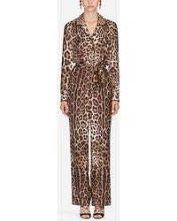 Dolce & Gabbana Pyjama Jumpsuit In Silk Twill - Multicolour