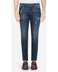 Dolce & Gabbana Stretch Skinny Jeans With Small Abrasions - Blue