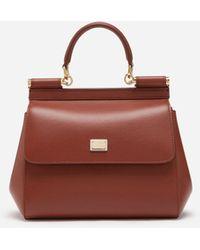 Dolce & Gabbana Small Sicily Bag In Aria Calfskin - Braun