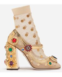 Dolce & Gabbana Mirrored Calfskin Mary Janes With Bejeweled Embellishment - Natural