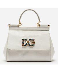 Dolce & Gabbana Kleine Tasche Sicily Aus Kalbsleder Mit Leguanprint Und Dg-Logo-Patch Mit Kristallen - Weiß
