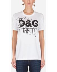 Dolce & Gabbana Printed Cotton T-Shirt - Blanco