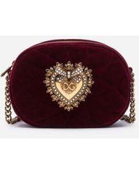 Dolce & Gabbana Bolso Redondo Devotion De Terciopelo Liso Acolchado - Morado
