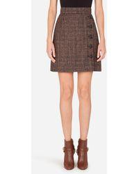 Dolce & Gabbana Short Tartan Tweed Skirt - Multicolour
