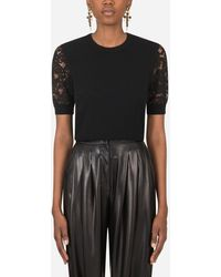 Dolce & Gabbana Short-Sleeved Cashmere Sweater With Lace Detailing - Noir
