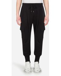 Dolce & Gabbana Cotton Cargo-Style Jogging Pants With Patch Detailing - Noir
