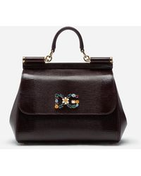 Dolce & Gabbana - Medium Iguana Print Calfskin Sicily Bag With Crystal Dg Logo Patch - Lyst