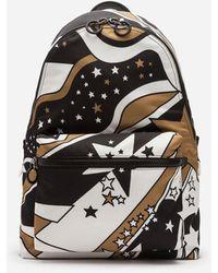 Dolce & Gabbana Mochila Vulcano De Nailon Estampado Mezcla De Estrellas - Negro