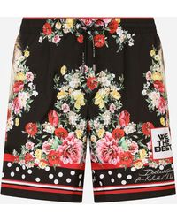 Dolce & Gabbana Mid-length Swim Trunks With Lion Mix Print - Multicolor