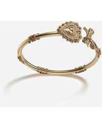 Dolce & Gabbana Devotion Bracelet In Yellow Gold With Diamonds - Multicolour