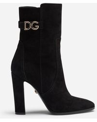 Dolce & Gabbana Ankle Boots In Suede With Dg Logo - Schwarz