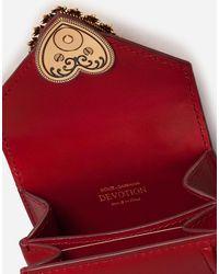 Dolce & Gabbana Micro Bolso Devotion De Becerro Liso - Rojo