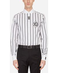 Dolce & Gabbana Striped Cotton Martini-Fit Shirt With Dg Patch - Negro
