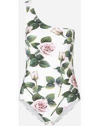 Dolce & Gabbana Einschultriger Badeanzug Mit Tropischem Rosendruck - Grün