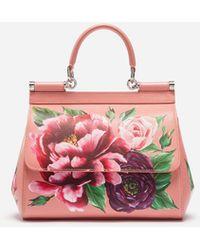 Dolce & Gabbana Medium Sicily Bag In Printed Dauphine Calfskin - Pink