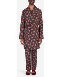 Dolce & Gabbana Miniature Rose-Print Robe With Matching Face Mask - Multicolore