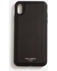 Dolce & Gabbana Cover Iphone Xs Max In Vitello Dauphine Stampato - Nero