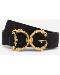 Dolce & Gabbana Lamé Belt With D&G Baroque Logo - Nero