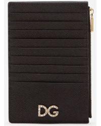 Dolce & Gabbana Large Vertical Dauphine Calfskin Credit Card Holder - Schwarz