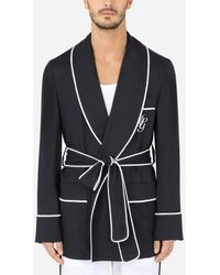 Dolce & Gabbana Short Linen Robe With Dg Embroidery - Multicolor