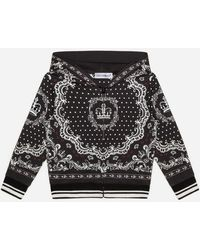 Dolce & Gabbana Sudadera Con Capucha De Jersey Y Estampado De Bandana - Negro