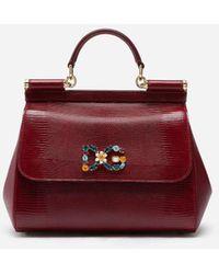 Dolce & Gabbana Small Iguana Print Calfskin Sicily Bag With Crystal Dg Logo Patch - Rojo