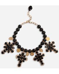Dolce & Gabbana Rhinestone-detailed Cross Necklace - Metallic