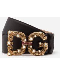 Dolce & Gabbana Calfskin Belt With Dg Amore Logo - Black