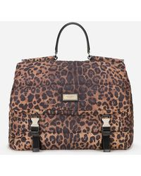 Dolce & Gabbana Leopard-print Sicily Travel Bag In Quilted Nylon - Brown
