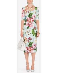 Dolce & Gabbana Short-sleeved Floral-print Cady Midi Dress - Green
