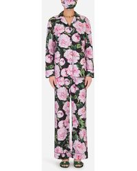 Dolce & Gabbana Peony-print Pajama Set With Matching Face Mask - Multicolor