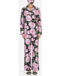 Dolce & Gabbana Peony-print Pyjama Set With Matching Face Mask - Multicolour