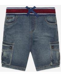 Dolce & Gabbana Jersey Bermuda Shorts In Washed Denim - Blue