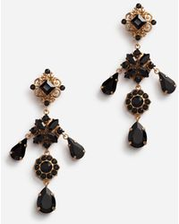 Dolce & Gabbana Drop Earrings With Flowers And Stones - Métallisé