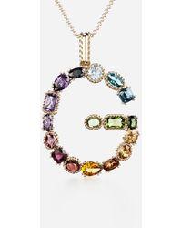 Dolce & Gabbana Rainbow Alphabet G Pendant In Yellow Gold With Multicolour Fine Gems - Metallic