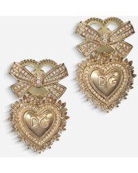 Dolce & Gabbana Devotion Earrings In Yellow Gold With Diamonds - Métallisé