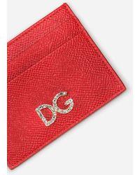 Dolce & Gabbana Dauphine Calfskin Card Holder With Rhinestone Dg Logo - Red
