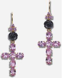 Dolce & Gabbana Family Yellow Gold Earrings With Rose And Cross Pendant - Métallisé