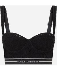 Dolce & Gabbana Lace Balconette Bralet Top With Branded Band - Black