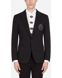Dolce & Gabbana Jersey Stretch Jacket With Patch - Black