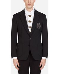 Dolce & Gabbana Jersey Stretch Jacket With Patch - Black