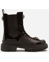 Dolce & Gabbana Polished Calfskin Combat Boots With Bejeweled Embroidery - Black