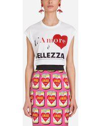 Dolce & Gabbana T-Shirt In Cotone Stampato - Bianco