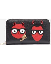 Dolce & Gabbana - Zip-around Leather Wallet With Patches Of The Designers - Lyst