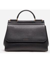 Dolce & Gabbana Sicily Medium Leather Shoulder Bag - Black
