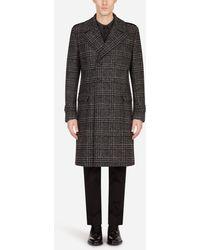 Dolce & Gabbana Double-Breasted Glen Plaid Wool Coat - Negro