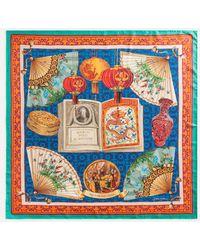Dolce & Gabbana Twill Silk Foulard With Silk Road Print: 90 X 90Cm- 35 X 35 Inches - Bleu